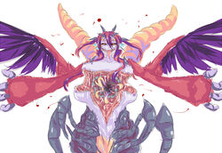black_sclera breasts dunceneygak extra_ears extra_eyes extra_legs feathered_wings feathers horns insect_girl large_breasts monster_girl nipples open_chest red_hair spread_arms tail wings yellow_eyes