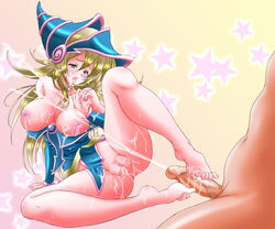 1boy ass bare_legs bare_shoulders barefoot blonde_hair breasts censored cum cum_on_body cum_on_lower_body dark_magician_girl duel_monster facial feet female footjob gradient_background green_eyes hat large_breasts long_hair magical_girl masturbation nude penis pussy straight tears toes tongue tongue_out wizard_hat yu-gi-oh! yuu-gi-ou_duel_monsters