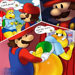 anal anal_sex anthro ass band-aid bandage big_butt blush bottomless bulge clothed clothed_sex clothing comic dialogue dot_eyes english_text erozer facial_hair heart hi_res hoodie human human_on_anthro interspecies koopa koopa_troopa koops male male/male mammal mario mario_bros moustache nintendo paper_mario penetration reptile scalie sex shell shorts text turtle video_games