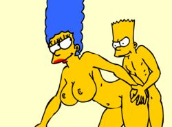 age_difference animated ass ass_grab balls bart_simpson bent_over big_ass big_breasts big_penis blue_hair breasts duo ear_piercing eyelashes female from_behind human incest large_breasts larger_female lipstick long_hair looking_back male marge_simpson milf mother_and_son navel nickartist penis red_lipstick sex simple_background size_difference smaller_male smile straight the_simpsons yellow_skin