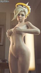 3d areolae breasts female female_only looking_at_viewer mercy nipples nude overwatch pussy skykliker solo source_filmmaker