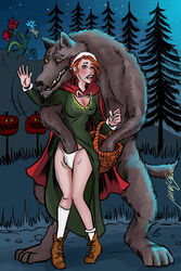 anthro basket beauty_mark big_bad_wolf blue_eyes blush breasts canine clothing clothing_lift duo erect_nipples exposed female finger_fuck fingering hair hand_in_panties hand_in_underwear hi_res human human_on_anthro interspecies little_red_riding_hood male mammal mavruda nipple_bulge nipples open_mouth orange_hair outside panties penetration picnic_basket skirt skirt_lift straight tight_clothing underwear vaginal_penetration wolf yellow_eyes