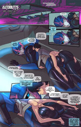 arcee artificial_intelligence ass bedroom_eyes blue_eyes comic duo english_text female fred_perry half-closed_eyes hi_res human human_on_robot jack_darby machine male mammal not_furry penis pussy robot seductive show text transformers transformers_prime wide_hips