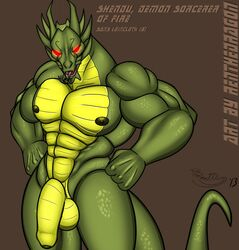 abs balls dragon flaccid green_scales hi_res humanoid_penis jackie_chan_adventures looking_at_viewer male male_only muscular nipples penis red_eyes renthedragon scales shendu solo tongue uncut yellow_scales