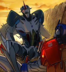 duo erection humanoid lesnee machine male not_furry open_mouth optimus_prime penetration penis robot sex starscream teeth transformers transformers_prime yaoi