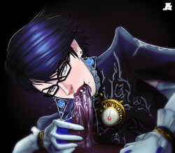 1boy bayonetta bayonetta_(character) beauty_mark black_hair blue_eyes earrings fellatio female glasses hair lips looking_at_viewer oral penis pumpkinsinclair saliva short_hair uncensored