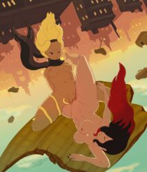 2girls animated bard-bot black_hair breasts city dark_skin floating gravity_rush hairband kat_(gravity_rush) multiple_girls nail_polish nude pussy raven_(gravity_rush) rocks scarf tribadism two-tone_hair wet_pussy