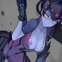 1:1_aspect_ratio animated black_hair blizzard_entertainment blue_skin bodysuit breasts center_opening cleavage female female_only gloves gun head_mounted_display hybrid_animation large_breasts long_hair looking_at_viewer overwatch photoshop pink_bodysuit ponytail purple_hair shaking_breasts smile solo stroke_(animator) taunting tied_hair walzrj weapon widowmaker yellow_eyes