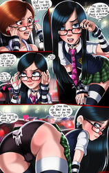 2girls ass black_hair black_panties black_underwear blue_eyes brown_eyes brown_hair cameltoe comic dialog earring glasses helen_parr mother_and_daughter rain school_uniform shadman skirt speech_bubble spiked_bracelet the_incredibles thighhighs violet_parr