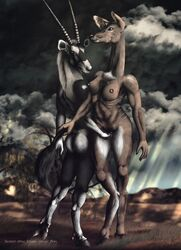 2016 antelope anthro antlers ass big_breasts breasts brown_fur cervine cloud deer drawing duo female fur grope hooves horn mammal nipples nude oryx outside penetration pussy romantic_couple sky smexyoryx storm vaginal_penetration yuri