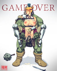armor bad_end bandana boots crotch_cutout cum cum_inside cumshot female game_over green_skin interspecies jiangshi_(artist) mace male male_on_female orc penetration rape red_hair sex straight sword torn_clothes torn_panties vaginal_penetration weapon
