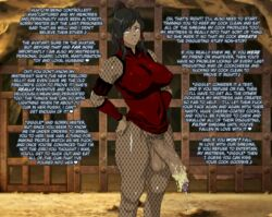 1girl avatar_the_last_airbender balls big_penis blue_eyes breasts brown_hair cleavage dark-skinned_futanari dark_skin elzi fishnet_pantyhose fishnet_stockings fishnets futanari hair human intersex korra nipple_bulge penis testicles the_legend_of_korra voluptuous