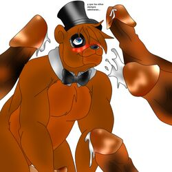 anthro artist_request bear blush bukkake cum cumming dicks_everywhere five_nights_at_freddy's freddy_(fnaf) freddy_fazbear furry_only gay hair_over_eyes hair_over_one_eye male male_only mammal nude nudity penis spanish tagme top_hat yaoi