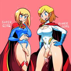 2girls blonde_hair blue_eyes blush cape cleavage_cutout crap-man crotch_cutout dc_comics foreskin full-package_futanari futanari hair intersex leotard multiple_girls penis power_girl precum short_hair supergirl superman_(series)