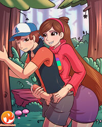 1boy balls blush braces brother_and_sister brown_eyes brown_hair cartoons clothes cum desktop_size dipper_pines disney ejaculation erection female femdom forest gravity_falls hair handjob hat headgear human incest mabel_pines