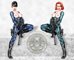 2girls actress armando_huerta avengers belt black_hair black_widow black_widow_(marvel) blue_eyes bodysuit breasts celebrity cobie_smulders female female_only gloves gun high_resolution large_breasts maria_hill marvel marvel_comics multiple_girls natasha_romanoff nipples red_hair scarlett_johansson shoes short_hair weapon