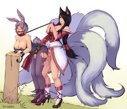 ahri ball_gag big_breasts black_hair blush boots bunny bunny_ears cat_ears chained collar dress drool feline female from_behind furry futa_on_female futanari high_heels interspecies iri-neko league_of_legends leash log multiple_tails neko nipple_piercing outfit piercing purple_hair rabbit rabbit_ears ripped_clothing riven saliva shackles tail tied tied_up tights wood