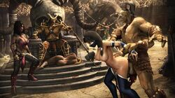 3d arm_grab armlet ass balls baraka black_hair breasts chains cum cum_drip cum_in_pussy detailed_background doggy_style female four_arms from_behind goro highres interspecies jade_(mortal_kombat) kitana large_breasts long_hair male mask mileena mortal_kombat nipples penetration penis sex shao_kahn shokan slave source_filmmaker straight tarkatan thighhighs torso_grab urbanator vaginal_penetration