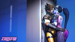 2girls 3d against_wall animated ass big_ass big_breasts blue_hair bodysuit breasts brown_hair clothed dark_hair duo ear_piercing eyes_closed female female_only gloves goggles hair hands_on_ass hands_on_hips human kissing leaning long_hair no_sound overwatch ponytail purple_skin short_hair standing tied_hair tight_clothes tracer webm widowmaker yuri zalsfm