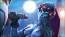 3d angry animated areola balls breasts erection female genji handjob king's_row_(map) long_hair looking_at_viewer male medium_breasts nipples no_sound overwatch penis purple_hair saucyfm source_filmmaker straight testicles unimpressed video_games webm widowmaker