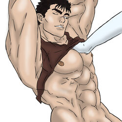 2boys abs bara berserk guts male male_only multiple_boys muscle muscles pecs shirt_lift smile white_background wince yaoi