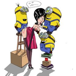 despicable_me female foursome from_behind male minion_(despicable_me) scarlet_overkill straight
