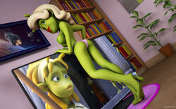 1girl 3d alien alien_girl artist_name back_view bare_shoulders barefoot beauty_mark big_breasts bikini bikini_bottom book busty curvy detailed_background erect_nipple erect_nipples eyelashes female female_only green_eyes green_skin half-dressed half_dressed holding_object hourglass_figure humanoid indoor inside kondaspeter lipstick makeup marilyn_(planet_51) mole no_bra planet_51 pose posing red_lipstick room shadow shiny shiny_skin solo solo_female standing swimsuit thick_lips topless tree voluptuous white_hair wide_hips