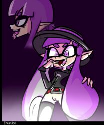 2017 breasts enurubis female gradient_background hair hat humanoid inkling nintendo open_mouth piercing purple_background purple_eyes purple_hair pussy signature simple_background splatoon standing teeth tentacle tentacle_hair tongue tongue_out tounge_piercing video_games