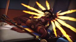 3d alternate_costume balls big_penis blackjr blonde_hair blue_eyes breasts cleavage dickgirl erection futa_solo futanari intersex looking_at_viewer mercy overwatch penis solo source_filmmaker spread_legs testicles thighhighs witch_hat witch_mercy