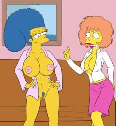 big_breasts breasts croc_(artist) marge_simpson maude_flanders pubic_hair tagme the_simpsons vulva