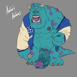 3_toes animal_genitalia animasanimus anthro biceps big_biceps big_penis blue_fur bottomless claws clothed clothing cum disney erection fur half-erect horn huge_cock humanoid_penis hyper looking_at_viewer male male_only manly mature_male monster monsters_inc monsters_university muscular muscular_male nipple_piercing nipples nude open_mouth partially_retracted_foreskin paws pecs penis piercing pixar pose rage saliva simple_background solo standing sulley thick_penis toes uncut undressing vein veiny_penis
