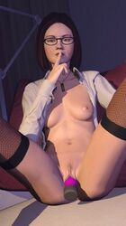 1girl 2017 3d areola areolae breasts brown_hair clothed clothes clothing dildo eyebrows eyelashes female female_only fishnet fishnet_legwear fishnet_stockings glasses green_eyes hair hands hitman hitman_(2016) human insertion lips looking_at_viewer medium_breasts navel nipples nose open_clothes pubic_hair pussy shiny shiny_skin solo source_filmmaker vaginal_insertion venomous_sausage victoria_burnwood