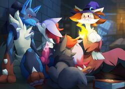 2016 anthro balls blitzdrachin blue_eyes blush braixen breasts canine cum delphox detailed_background envy erection fellatio female feral fire fluffy fluffy_tail fox french_kiss group harem kissing knot lucario magic_user male mammal masturbation mega_evolution mega_lucario nintendo oral painting paws penis pokemon pussy red_eyes sex straight video_games voyeur witch zorua