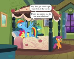 apple_bloom_(mlp) babs_seed_(mlp) bed closed_eyes dialogue dickgirl equine feral friendship_is_magic grin group hair hair_ribbon hairbow horse inside intersex looking_back mammal multicolored_hair my_little_pony on_bed open_mouth pony purple_eyes purple_hair rainbow_dash_(mlp) rainbow_hair red_hair ribbons wing_boner wings