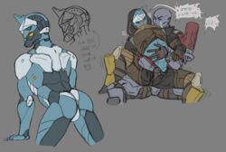 ! 5_fingers android arm_grab ass awoken blue_eyes blue_skin blush bungie cayde-6 clothed clothing destiny_(video_game) duo empty_eyes english_text exo fondling front_view grey_background hand_in_pants heart hood humanoid humanoid_hands humanoid_on_humanoid leaning leaning_forward looking_back machine male male/male moan nude pants presenting presenting_hindquarters purple_skin rear_view robot simple_background speech_bubble text zapperthecat zavala