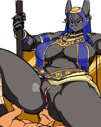 anubis big_breasts blue_hair breasts canine deity domination female female_domination hair human interspecies male mammal pussy unknown_artist