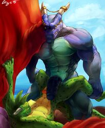 abs anthro biceps big_penis clothed clothing digbox digital_media_(artwork) digs dracory dragon duo humanoid_penis lying male male/male mammal muscular navel nude penis pillow scalie sex simple_background size_difference spread_legs spreading teeth tongue topless young