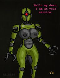 1girl 3_fingers 69_position ass assaultron atlasf4 big_breasts black_background breasts clitoris dialogue fallout female heart larger_female love machine muscular nipples one_eye oral pussy red_eyes robot seductive size_difference standing technophilia text video_games