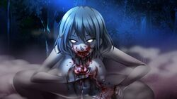 blood breasts cannibalism eating grand_guignol_no_yoru grey_skin large_breasts monster monster_girl nipples nude outdoors squatting tinkerbell white_eyes