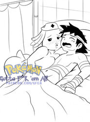 anthro bandage chansey distracting_watermark duo female gfea_(artist) handjob hospital human human_on_anthro interspecies male mammal monochrome nintendo pokecenter pokemon satoshi_(pokemon) sex straight video_games watermark
