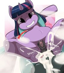 anal anal_sex balls bulge cum cum_in_ass cum_inside equine erosky female friendship_is_magic horn horse looking_at_viewer male mammal my_little_pony penetration penis pussy straight text twilight_sparkle_(mlp)