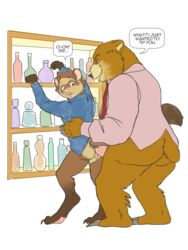 alcohol anal ass bar barnaby_kane bartender bear beverage blush bottomless butt_heart clothed clothing dialogue ferret jonas male male/male mammal mustelid necktie penis public raised_tail suit