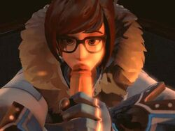 3d animated artist_request brown_eyes brown_hair clothed duo fellatio female giver_pov glasses handjob loop male male_pov mei_(overwatch) no_sound oral oral_sex overwatch penis pov source_filmmaker straight sucking webm