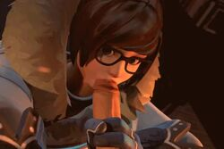 3d animated artist_request brown_eyes brown_hair clothed duo fellatio female glasses hair handjob human humanoid loop male mei_(overwatch) no_sound oral oral_sex overwatch penis source_filmmaker straight sucking webm