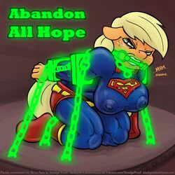 abandon_all_hope anthro anthrofied applejack_(mlp) bondage bound bridle chains cosplay crossover dc depowered drooling friendship_is_magic kryptonite looking_at_viewer mouthpiece my_little_pony nipples saliva smudge_proof superman supermare