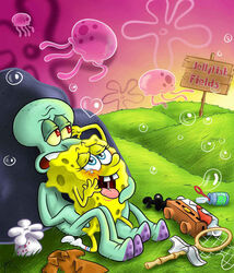 anal anthro bubble cephalopod clothing detailed_background duo heart jellyfish male marine nickelodeon nude penetration public saliva sea_sponge sex spongebob_squarepants spongebob_squarepants_(character) squid squidward_tentacles tears underwear yaoi