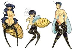 ambiguous_gender animal_humanoid antennae arthropod balls bee big_breasts black_hair blush breasts candylady erection female hair humanoid insect_wings insects long_hair male nipples nude one_eye_closed penis pose pussy red_eyes short_hair smile wasp wings