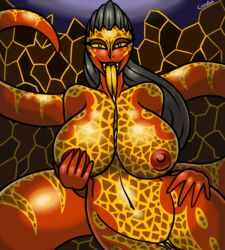 big_breasts black_hair breasts canastus cum fangs fire hair lamia lava lego long_hair long_tail long_tongue monster_girl navel nexo_knights red_skin reptile saliva scales scalie snake tongue whiparella wide_hips