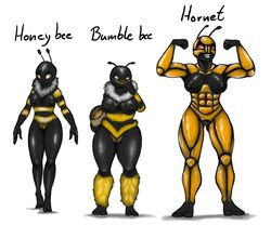 abs antennae anthro armor arthropod bee biceps big_breasts breasts bumble_bee eating female hair hi_res honey_bee hornet insects muscular nipples nude nukenugget pussy smile wasp