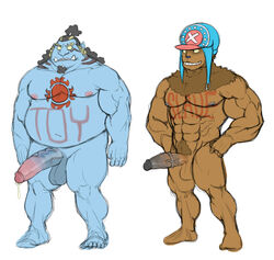 2boys anthro blue_skin cap chubby fishman full-length_portrait full_length half-erect jimbei jinbe jinbei male male_only monster multiple_boys muscles muscular one_piece penis portrait semi-erect standing tattoo tony_tony_chopper wkd yaoi
